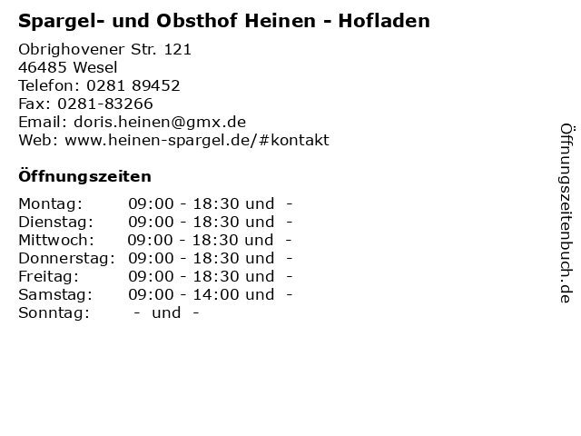 Spargel- und Obsthof Heinen - Hofladen in Wesel: Adresse und Öffnungszeiten