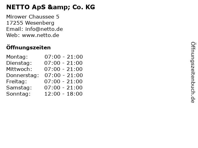 NETTO ApS & Co. KG in Wesenberg: Adresse und Öffnungszeiten