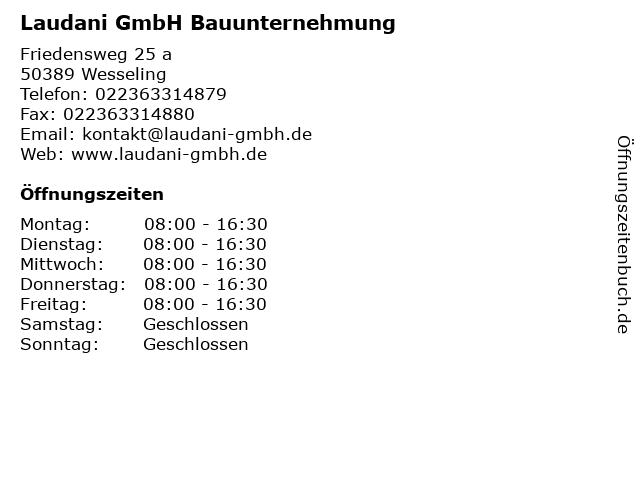 Laudani GmbH Bauunternehmung in Wesseling: Adresse und Öffnungszeiten