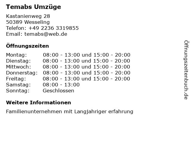 Temabs Umzüge in Wesseling: Adresse und Öffnungszeiten