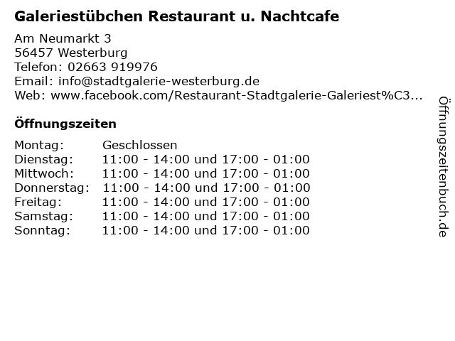 Galeriestübchen Restaurant u. Nachtcafe in Westerburg: Adresse und Öffnungszeiten