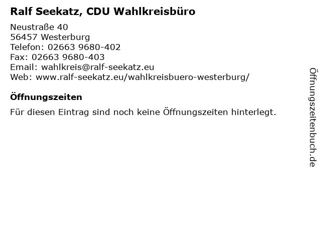 Ralf Seekatz, CDU Wahlkreisbüro in Westerburg: Adresse und Öffnungszeiten
