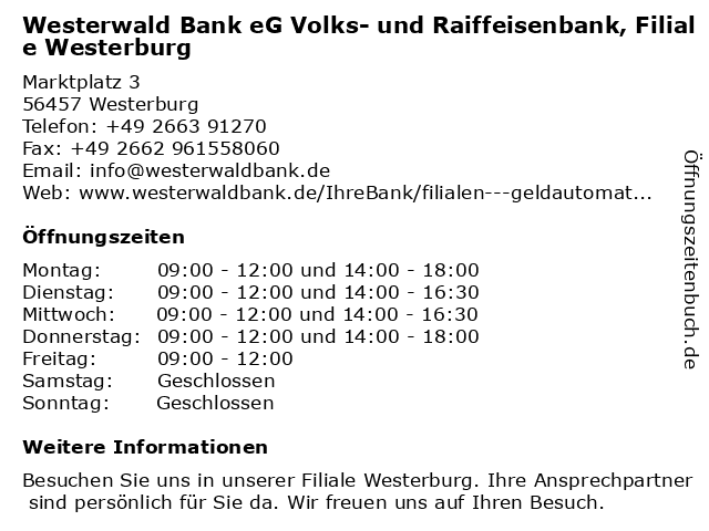 Westerwald Bank Offnungszeiten