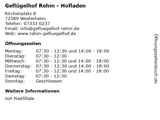 Geflügelhof Rehm - Hofladen in Westerheim: Adresse und Öffnungszeiten