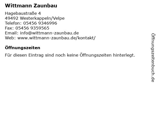 Wittmann Zaunbau in Westerkappeln/Velpe: Adresse und Öffnungszeiten