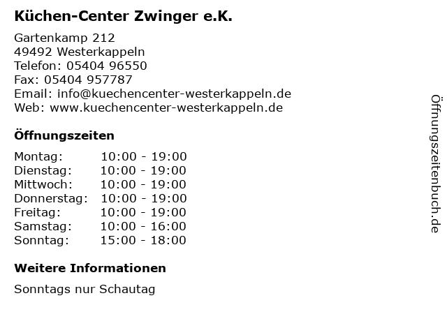 ᐅ Offnungszeiten Kuchen Center Zwinger E K Gartenkamp 212 In