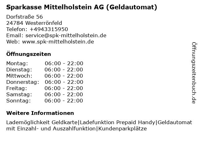 Sparkasse Mittelholstein AG - (Geldautomat Filiale) in Westerrönfeld: Adresse und Öffnungszeiten