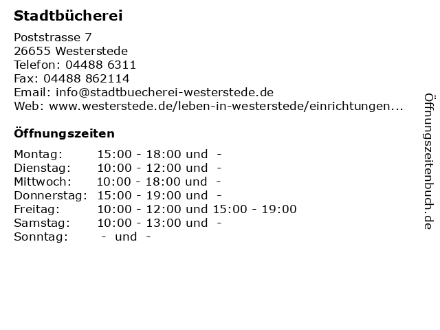 Stadtbücherei in Westerstede: Adresse und Öffnungszeiten