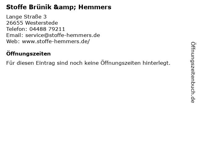 ᐅ öffnungszeiten Stoffe Brünik Hemmers Lange Straße 3 In