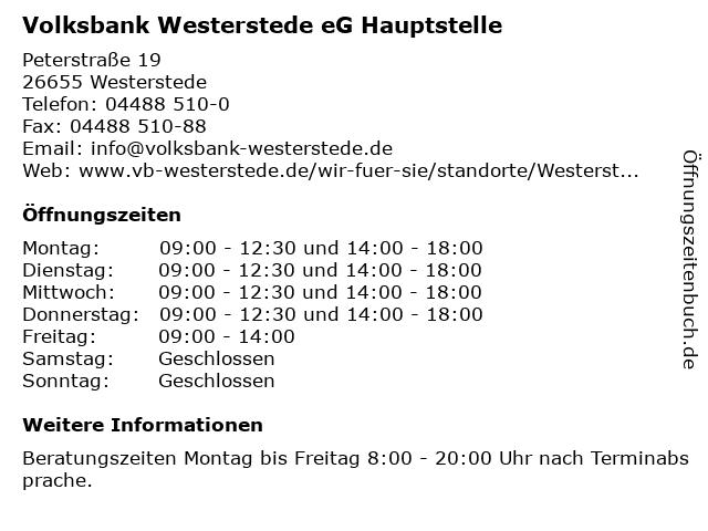 Volksbank Westerstede eG Hauptstelle in Westerstede: Adresse und Öffnungszeiten