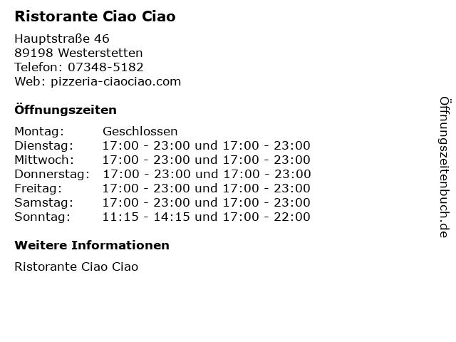 Ristorante Ciao Ciao in Westerstetten: Adresse und Öffnungszeiten