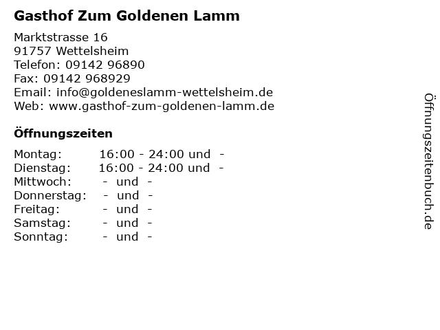 Gasthof Zum Goldenen Lamm in Wettelsheim: Adresse und Öffnungszeiten