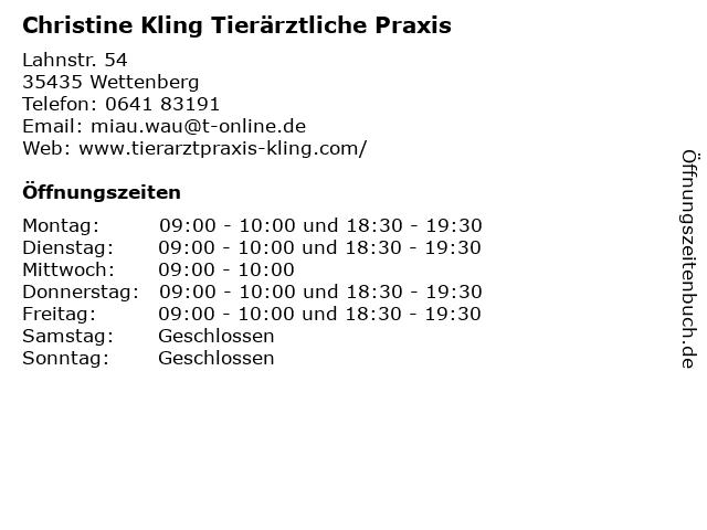 Christine Kling Tierärztliche Praxis in Wettenberg: Adresse und Öffnungszeiten