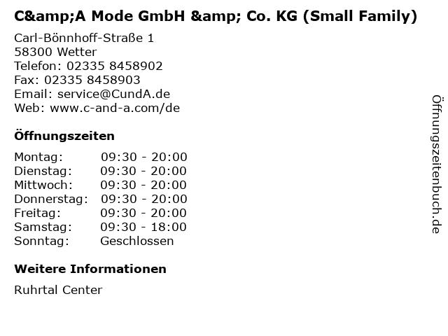 C&A Mode GmbH & Co. KG (Small Family) in Wetter: Adresse und Öffnungszeiten