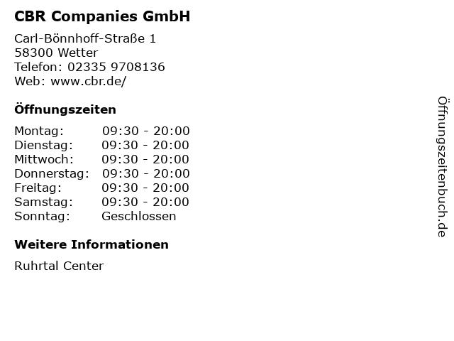 CBR Companies GmbH in Wetter: Adresse und Öffnungszeiten