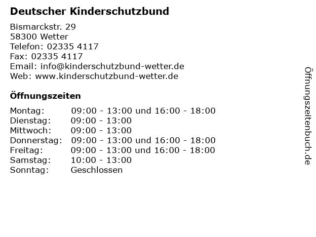 ᐅ öffnungszeiten Deutscher Kinderschutzbund Bismarckstr 29 In