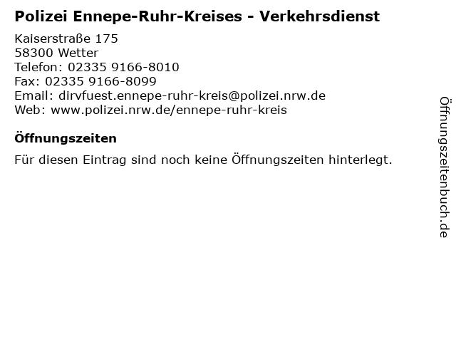 ᐅ öffnungszeiten Polizei Ennepe Ruhr Kreises Verkehrsdienst