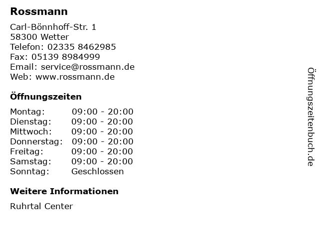 Dirk Rossmann GmbH in Wetter: Adresse und Öffnungszeiten