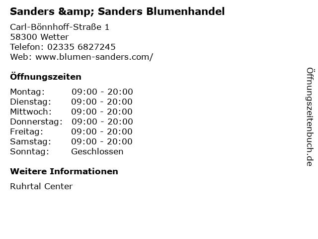 Sanders & Sanders Blumenhandel in Wetter: Adresse und Öffnungszeiten