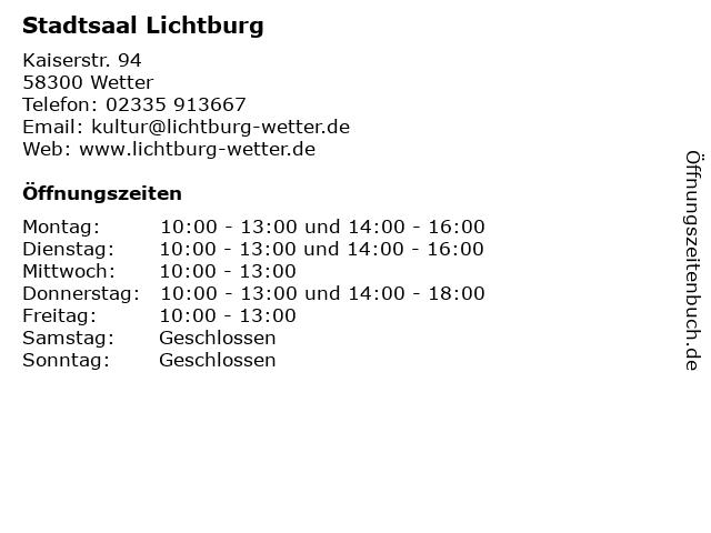 Stadtsaal Lichtburg in Wetter: Adresse und Öffnungszeiten
