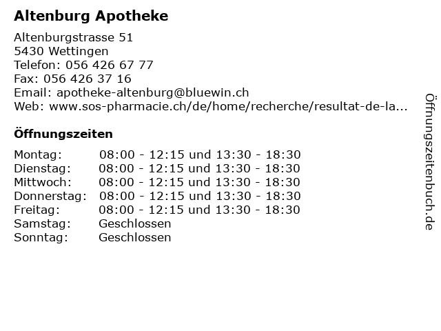Altenburg Apotheke in Wettingen: Adresse und Öffnungszeiten