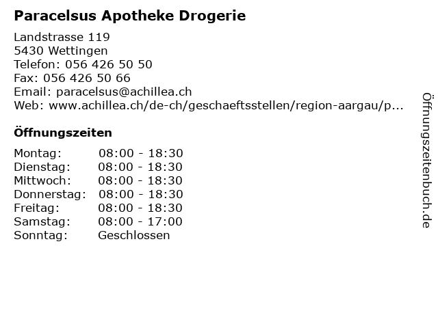 Paracelsus Apotheke Drogerie in Wettingen: Adresse und Öffnungszeiten