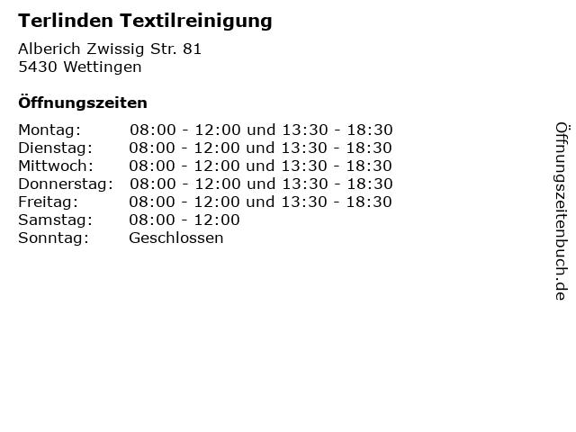 Terlinden Textilreinigung in Wettingen: Adresse und Öffnungszeiten