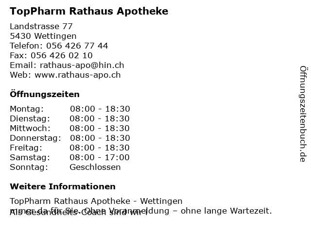 TopPharm Rathaus Apotheke in Wettingen: Adresse und Öffnungszeiten