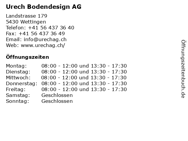 Urech Bodendesign AG in Wettingen: Adresse und Öffnungszeiten