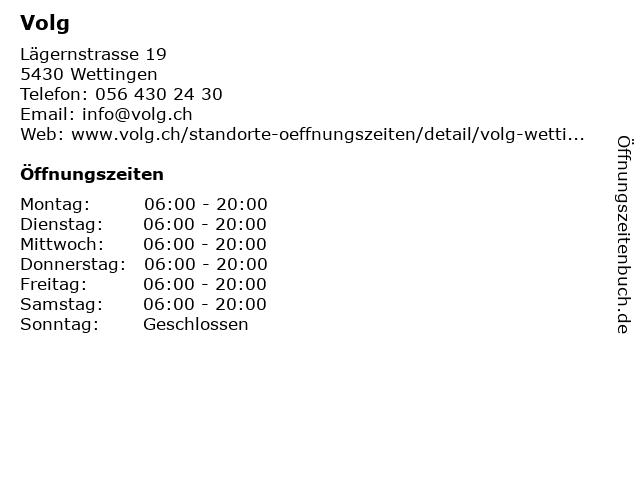 Volg in Wettingen: Adresse und Öffnungszeiten