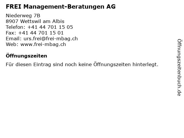 FREI Management-Beratungen AG in Wettswil am Albis: Adresse und Öffnungszeiten