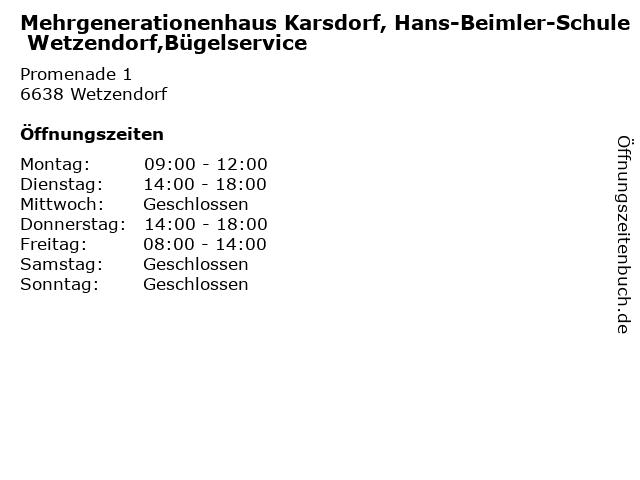 Mehrgenerationenhaus Karsdorf, Hans-Beimler-Schule Wetzendorf,Bügelservice in Wetzendorf: Adresse und Öffnungszeiten