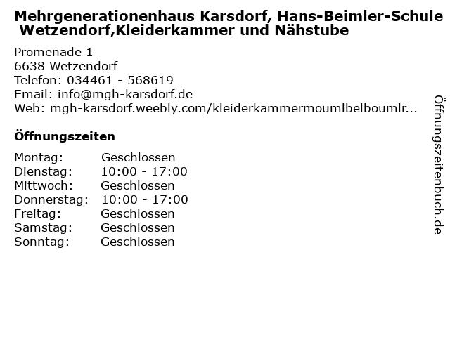 Mehrgenerationenhaus Karsdorf, Hans-Beimler-Schule Wetzendorf,Kleiderkammer und Nähstube in Wetzendorf: Adresse und Öffnungszeiten