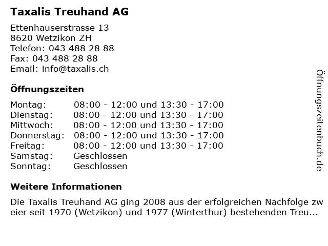 Taxalis Treuhand AG in Wetzikon: Adresse und Öffnungszeiten