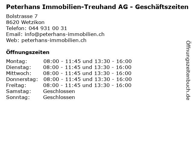 Peterhans Immobilien-Treuhand AG - Geschäftszeiten in Wetzikon: Adresse und Öffnungszeiten