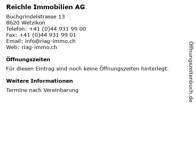 Reichle Immobilien AG in Wetzikon: Adresse und Öffnungszeiten