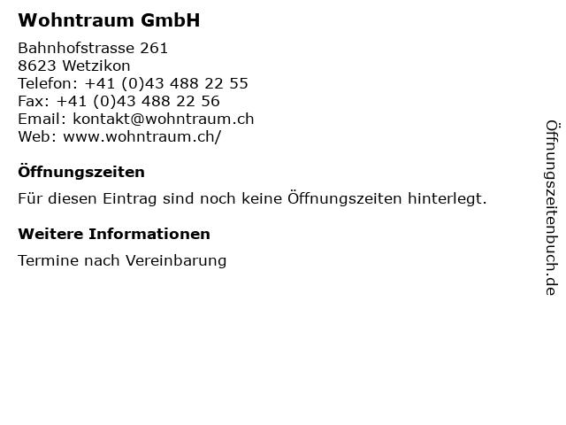 Wohntraum GmbH in Wetzikon: Adresse und Öffnungszeiten