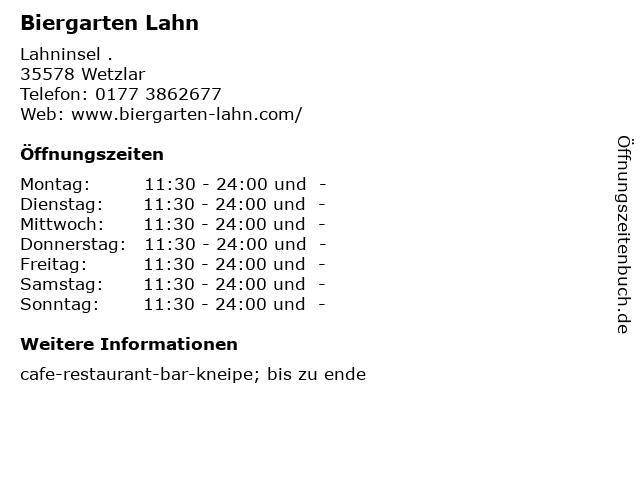 Biergarten Lahn in Wetzlar: Adresse und Öffnungszeiten