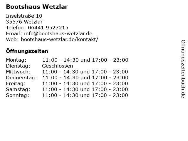 Bootshaus Wetzlar in Wetzlar: Adresse und Öffnungszeiten