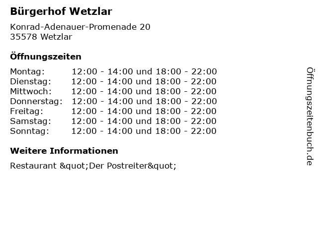 Bürgerhof Wetzlar in Wetzlar: Adresse und Öffnungszeiten