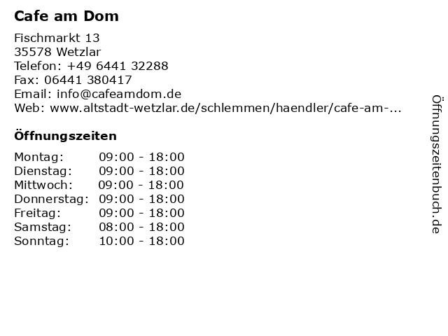 Cafe am Dom in Wetzlar: Adresse und Öffnungszeiten