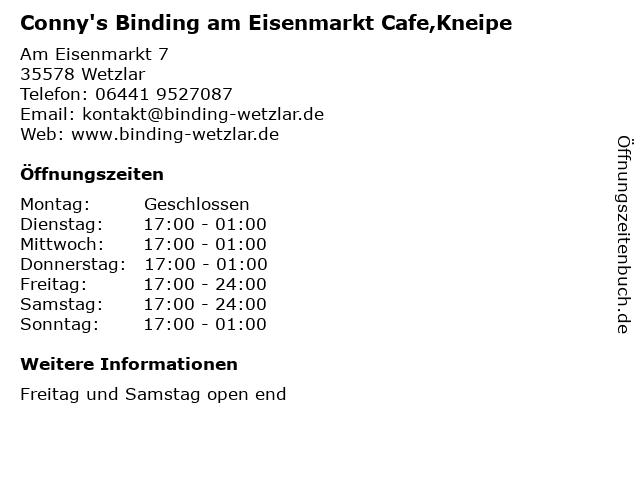 Conny's Binding am Eisenmarkt Cafe,Kneipe in Wetzlar: Adresse und Öffnungszeiten
