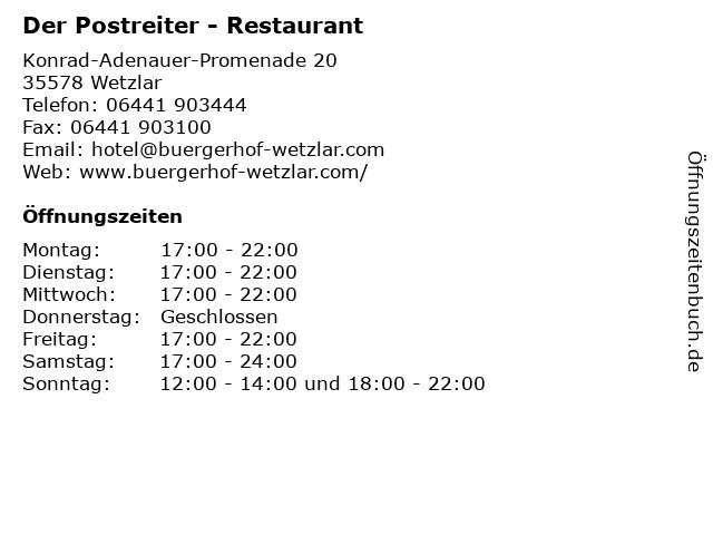 Der Postreiter - Restaurant in Wetzlar: Adresse und Öffnungszeiten