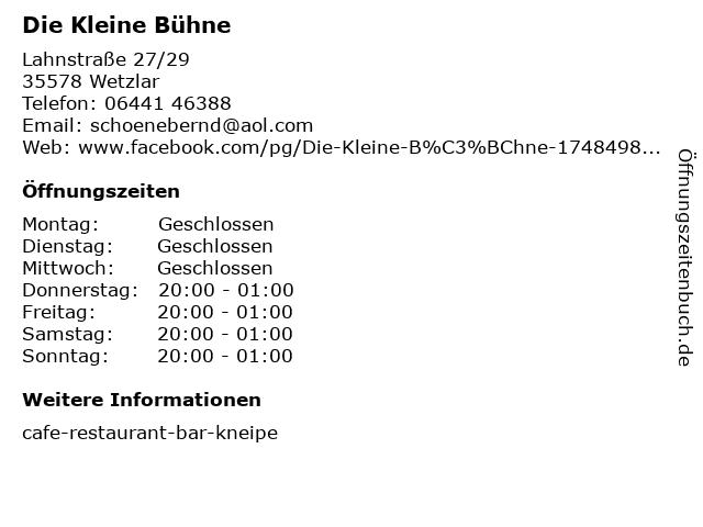 Die Kleine Bühne in Wetzlar: Adresse und Öffnungszeiten