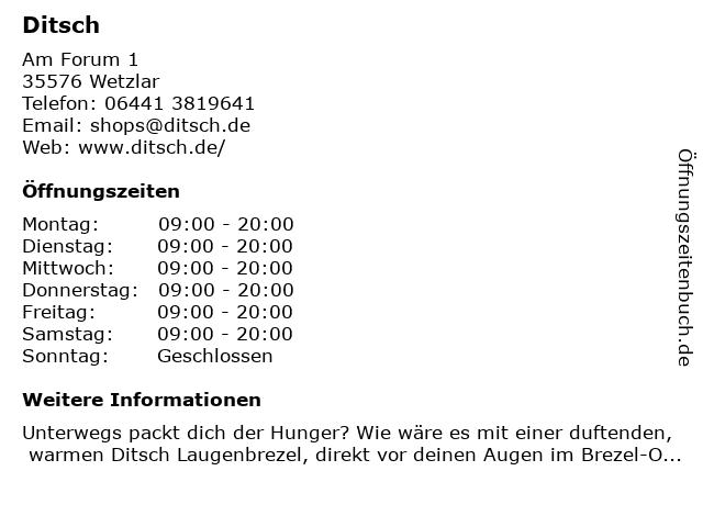 Ditsch in Wetzlar: Adresse und Öffnungszeiten