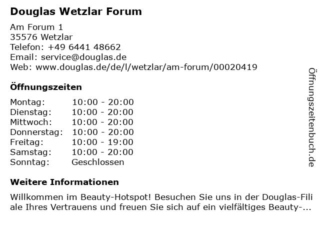 Douglas Wetzlar Forum in Wetzlar: Adresse und Öffnungszeiten