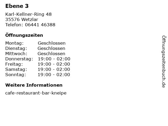 Ebene 3 in Wetzlar: Adresse und Öffnungszeiten