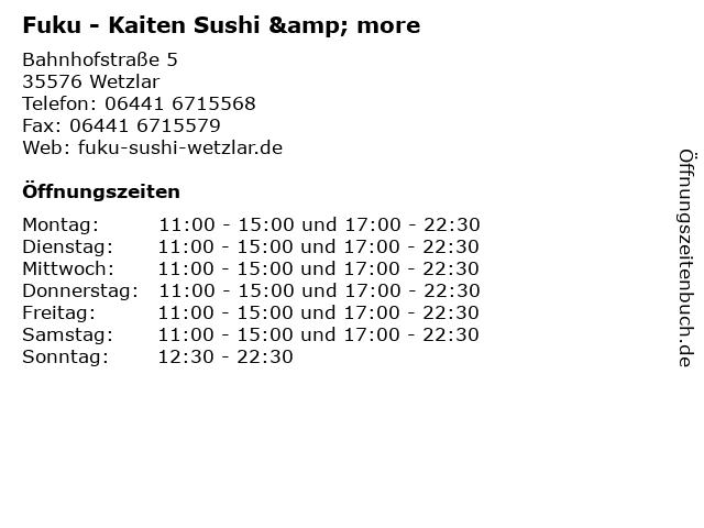 Fuku - Kaiten Sushi & more in Wetzlar: Adresse und Öffnungszeiten