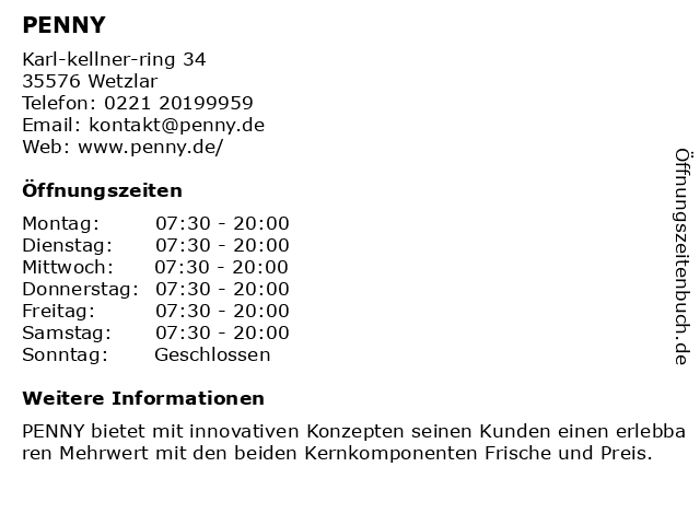 PENNY in Wetzlar: Adresse und Öffnungszeiten