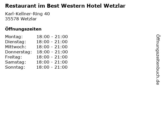 Restaurant im Best Western Hotel Wetzlar in Wetzlar: Adresse und Öffnungszeiten